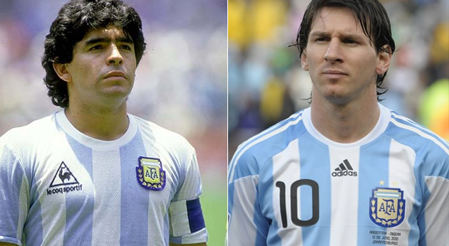 Maradona and Messi, Argentine soccer legends.