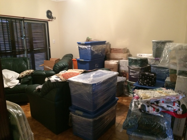 Our living room after things were unloaded