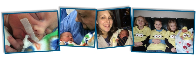Nicolas' first day, first photos with mommy and daddy, the four Metzger minions.